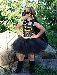 cheap -Kids Little Girls' Dress Cartoon Backless Layered Mesh Black Knee-length Sleeveless Cute Dresses Regular Fit