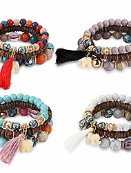 cheap -Bohemian Stretch Beaded Bracelets for Women Multilayer Stackable Bracelets Strand Bangles