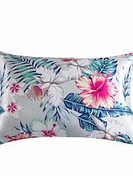 cheap -2PCS Pillowcase Floral Print Silky Satin Pillowcase Standard Size Luxury Satin Pillowcase with Zipper Closure