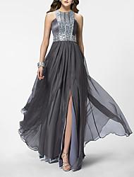 cheap -Sheath / Column Empire Sparkle Wedding Guest Formal Evening Dress Jewel Neck Sleeveless Sweep / Brush Train Chiffon with Pleats Sequin 2021