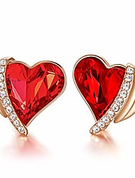 cheap -Women Earrings 18K Gold Plated Heart Stud Earrings Birthday Gifts, Embellished with Crystals with Jewelry Box (Rose Gold Red)