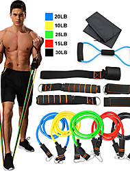 cheap -Resistance Band Set 12 pcs 5 Stackable Exercise Bands Door Anchor Legs Ankle Straps Sports TPE Home Workout Fitness Pilates Heavy-duty Carabiner Strength Training Muscular Bodyweight Training Muscle