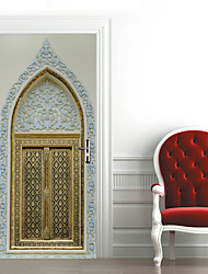 cheap -2pcs Self-adhesive Creative Muslim Door Stickers For Living Room DIY Decoration Home Waterproof Wall Stickers