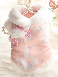 cheap -Dog Cat Coat cheongsam Dog clothes Flower Fashion Chinoiserie Cute Casual / Daily Spring Festival Winter Dog Clothes Puppy Clothes Dog Outfits Breathable Blue Pink Costume for Girl and Boy Dog Coral