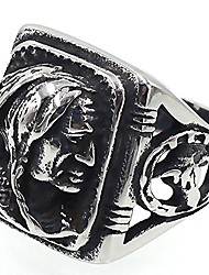 cheap -mens vintage classic stainless steel ring biker native american indian women head rings silver black band