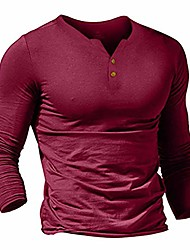 cheap -Men T-Shirts Casual Long Sleeve Slim Tops Solid Button-Up Henley Sport Tee Shirts Wine