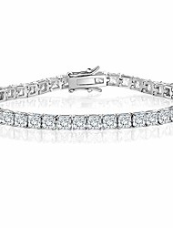 cheap -18K White Gold Plated Princess Cut Cubic Zirconia Classic Tennis Bracelet 7.5 Inch