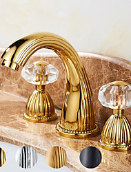 cheap -Two Handles Bathroom Faucet, Antique Brass/Black/Gold/Sliver Three Holes Widespread  Bath Taps,Crystal Handle Brass Bathroom Sink Faucet Contain with Supply Lines and Hot/Cold Water