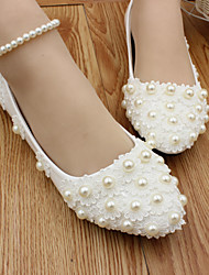 cheap -Women's Wedding Shoes Flat Heel Round Toe Wedding Flats Wedding Walking Shoes PU Pearl Floral White [Flat bottom] standard code White [3 cm heel] standard size White [5 cm heel] standard size