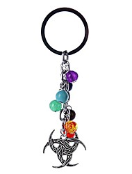 cheap -Gemstone Pearls Pendant Keychain Healing Crystals Tumbled Stone Beads Keyring for Couple Best Friend