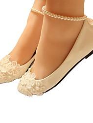 cheap -Women's Wedding Shoes Flat Heel Round Toe Wedding Flats Wedding Walking Shoes PU Pearl Floral Flat bottom [2020 version standard code] 3 cm heel [standard size] 5 cm heel [standard size]