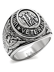 cheap -us military veteran ring - (silver color) war veteran jewelry military rings for army, navy, marines, air force, coast guard - officers military gear with flag decal emblem design. (9)