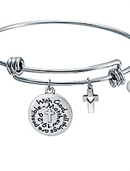 cheap -with god all things are possible religious bangle bracelet with cross pendant, christian gifts(with god-01)