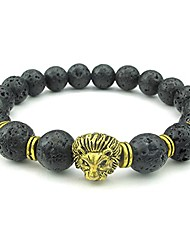 cheap -lava mens bracelet, 10mm natural energy gemstone beads bangle, lion charm, black gold
