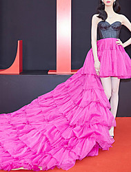cheap -Ball Gown Color Block Celebrity Style Engagement Prom Dress Sweetheart Neckline Sleeveless Asymmetrical Tulle with Pleats Ruffles 2021