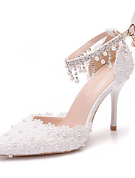 cheap -Women's Wedding Shoes Stiletto Heel Pointed Toe Wedding Pumps Business Sexy Minimalism Wedding Office & Career PU Pearl Buckle Tassel Solid Colored White