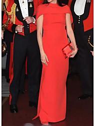 cheap -Sheath / Column Celebrity Style Minimalist Wedding Guest Formal Evening Dress High Neck Short Sleeve Floor Length Satin with Sleek 2020