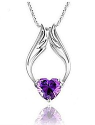 cheap -fashion plated heart synthetic stone angel wings pendant with necklace chain