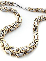 "cheap -Mens Jewellery Byzantine Box Width 6mm Link Chain Inch 18"" Gold 316L Stainless Steel Necklace"