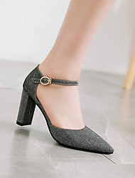 cheap -Women's Wedding Shoes Chunky Heel Pointed Toe Wedding Daily PU Synthetics Black Purple Blue