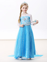 cheap -Princess Elsa Dress Cosplay Costume Masquerade Girls' Movie Cosplay A-Line Slip Cosplay Vacation Dress Blue Green Blue (With Accessories) Dress Halloween Carnival Masquerade Flannel