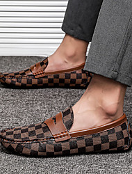 cheap -Men's Loafers & Slip-Ons Business Daily Home Walking Shoes Nappa Leather Brown Gray Fall Spring