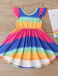 cheap -Kids Little Girls' Dress Tie Dye Purple Above Knee Sleeveless Active Boho Dresses Regular Fit