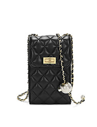 cheap -Women's Bags PU Leather Crossbody Bag Crystals Chain Solid Color 2021 Daily Going out Black Blushing Pink Green