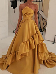 cheap -A-Line Vintage Sexy Engagement Formal Evening Dress Strapless Sleeveless Sweep / Brush Train Satin with Pleats Tier 2020