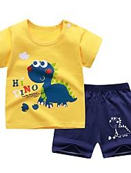 cheap -Kids Toddler Boys' Sleepwear T-shirt & Shorts Clothing Set 2 Pieces Short Sleeve Yellow White Dinosaur Cartoon Striped Print Print Cotton Active Basic Comfortable 2-6 Years / Summer