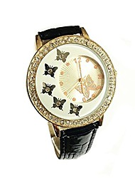 cheap -fashion women's crystal butterfly decoration pu leather quartz watch ladies watches (white)