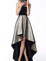 cheap -A-Line Color Block Sexy Wedding Guest Formal Evening Dress Strapless Sleeveless Asymmetrical Satin with Ruffles 2020