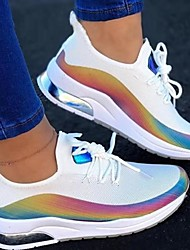 cheap -Women's Trainers Athletic Shoes Sneakers Round Toe Sporty Daily Walking Shoes Elastic Fabric Lace-up Rainbow Color Block White Black Pink
