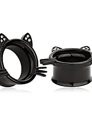 cheap -(Cute Black Kitten Ear Plugs Tunnels Gauges Stretcher Piercings