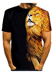 cheap -Men's T shirt 3D Print Lion Animal 3D Print Short Sleeve Daily Tops Casual Black