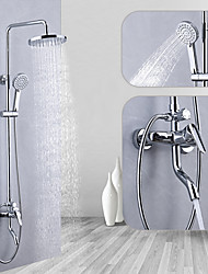 cheap -Shower System / Rainfall Shower Head System Set - Handshower Included pullout Multi Spray Shower Contemporary / Traditional Electroplated Mount Outside Ceramic Valve Bath Shower Mixer Taps