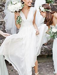 cheap -A-Line Wedding Dresses V Neck Floor Length Chiffon Sleeveless Simple Beach with 2021