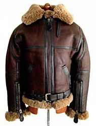 cheap -ginger aviator pilot sheepskin white fur shearling bomber brown jacket