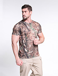 cheap -Men's Hunting T-shirt Tee shirt Camouflage Hunting T-shirt Military Tactical Shirt Camo Outdoor Summer Ultra Light (UL) Fast Dry Breathable Outdoor Polyester Desert Camouflage Natural yellow ACU CP