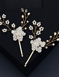 cheap -Wedding Sweet Rhinestone / Alloy Hair Clip / Hair Accessory with Faux Pearl / Petal / Split Joint 2pcs Wedding / Party / Evening Headpiece
