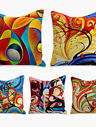 cheap -5 pcs Pillow Cover, Tie Dyed Simple Casual Square Polyester Traditional Classic