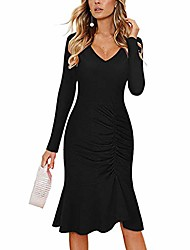 cheap -casual dress long sleeve v neck ruched slim a-line ruffle bodycon solid evening gowns midi dress cocktail party dresses black