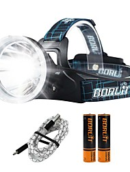 cheap -Boruit® B10 Headlamps 1200 lm LED 1 Emitters 4 Mode with Batteries and USB Cable Professional Adjustable Camping / Hiking / Caving Everyday Use Police / Military Black / Aluminum Alloy