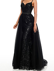 cheap -Mermaid / Trumpet Beautiful Back Sexy Engagement Formal Evening Dress Spaghetti Strap Sleeveless Detachable Sequined with Overskirt 2021