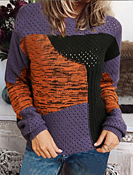 cheap -Women's Pullover Knitted Color Block Basic Acrylic Fibers Long Sleeve Sweater Cardigans Crew Neck Fall Winter Navy Blue