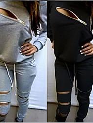 cheap -women's sweatsuits 2 pcs tracksuit round neck long sleeve sweatshirt zipper long pants outfits set (m,gray)