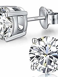 cheap -silver diamond earrings men women stud earrings cubic zirconia stud earrings white gold sterling silver tiny diamond stud earrings 6mm