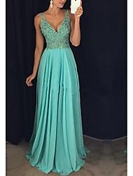 cheap -Sheath / Column Sparkle Elegant Wedding Guest Formal Evening Dress V Neck Sleeveless Floor Length Chiffon with Pleats Crystals 2021
