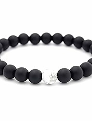 cheap -Men Women 8mm Lava Rock Double Beads Energy Yoga Elastic Natural Agate Frosted Black and White Bracelet Jewelry (White)