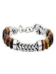 cheap -Men's Genuine Gemstone Bead Stainless Steel Franco Link Bracelet (Brown (Tiger Eye))